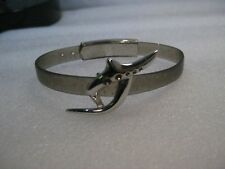 "Silver Abstract Shark  Bracelet, Glitter Plastic Band, w/Rhinestones,  7.75""."