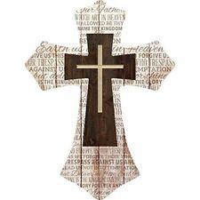 Lord's Prayer Three Cross Whitewash with Dark Wood Wall Art Plaque Cross