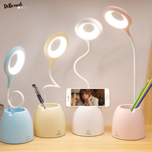 Rechargeable LED Desk Lamp Dimmable Bedside Reading Table Light Touch Pen Holder