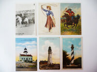 Lot of 6 vintage POSTCARDS Old West, Lighthouses