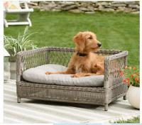 NEW Wicker Dog Pet Sofa Raised Bed Indoor Outdoor Grey Cushion Gray Cat Puppy