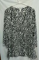 Harolds Black White Silk Tunic Top Woman's Size L Deep V Side Zip