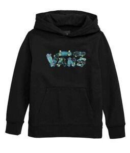 VANS Boys Gripped Pullover Hoodie Black Skate New
