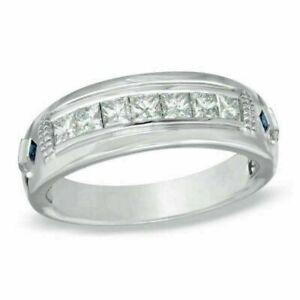 Vera Wang Love Collection Men's Ring Band in 1.75 ct Princess Cut Diamond Silver