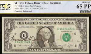 1974 $1 DOLLAR BILL HAND SIGNED COURTESY AUTOGRAPHED NOTE PAPER MONEY PCGS 65