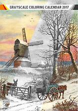 """Coloring Calendar 2017 (12 pages 8""""x11"""") Winter Landscapes Vintage FLONZ 1008"""