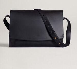 Dunhill Messenger Bag  100% Leather Duke Flap Large Zip BNWT Black  RRP £2695