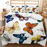 Colorful Butterflies Flying 3D Quilt Duvet Doona Cover Set Pillow case Print
