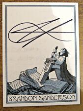 Hand Signed BRANDON SANDERSON adhesive bookplate WORLDWIDE FREEPOST