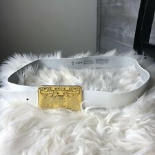 Buffalo David Bitton 36 Inch Waist White Leather Yellow Belt