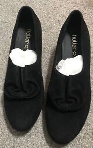 Hotter Women's Donna Court Shoe Suede Slip On Adult, Black Brogue, Size US 9