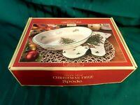 I2 - Spode England Christmas Tree Oval Veggie Bowl w/ Oven Mitt MIB