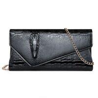 Clutch Crocodile Handbag Women Leather Purse Bag Ladies Big Wallet Chain Handle