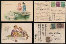 GERMANY to JAPAN INFLATION FRANKINGS 1923 PPCs CHILDREN SWANS CHICKS