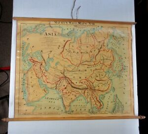 Antique ASIA CHINESE EMPIRE MAURY'S WALL MAP PULL DOWN 1872 WELLS 19th Century