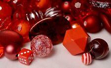 Red Bulk Beads, 1/2 Lb Quality, Resin, Acrylic, Wood Bubblegum Beads BB106