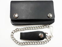 TRUCKER BIKER WALLET WITH CHAIN LEATHER AMERICAN COWHIDE 6 in MADE IN USA BLACK