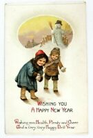 Postcard Wishing You A Happy New Year Two Girls Snowballs 1910's
