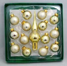 "Gold Tree Topper Mini Ornament Set 15 Ball Finial Glass 1.25"" Kurt Adler"