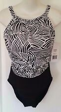 NWT Penbrooke Women's 14 Swimsuit One Pc Black White Silver Ruched Hi Neck New