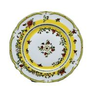 "FIELD HAVILAND Parlon Limoges 10.5"" Plate Yellow Band Roses - Signed"