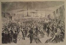 NAVEL BALL AT BROOKLYN NAVY YARD NEW YORK GRAND DUKE ALEXIS HARPER'S WEEKLY 1871