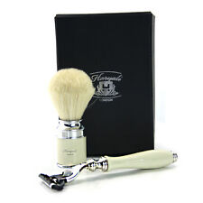 Gillette Precision Mach 3 Razor  + White Badger Hair Shaving Brush Gift Box Set