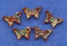 PRETTY BUTTERFLY CHARM x 5 RED ORANGE MIX SILVER FOIL GLASS PENDANT