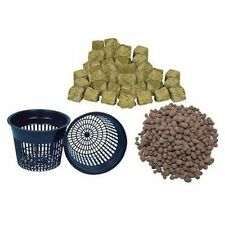 "(4) 5"" Net pots, Clay Pebbles & Grodan 1.5"" Rockwool Cubes Hydroponic Grow Pot"