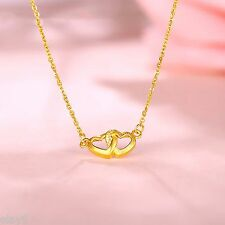 Pure Solid 999 24K Yellow Gold Chain Women O Link Two Heart Necklace 16inch