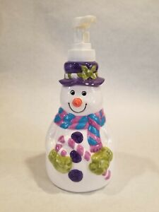 Snowman Ceramic Soap/Lotion Dispenser Kitchen, Bath 1996 Allure 7""