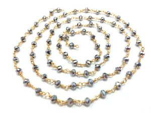 10 Feet Silver Quartz Rondelle 3-4mm Beads, Rosary Beaded Chain Gold Wire S2
