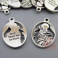 Howling Wolf Charms 28mm Wholesale Antiqued Silver Plated Pendants - 4/15/30PCs