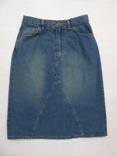 "Marks & Spencer dist/bleach bias cut denim style skirt W 27"" Size 8 / 10 ?"