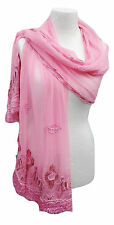 Gran único Boho Rosa seda Chifón Chal Bufanda Envolvente adornado Indio Sari