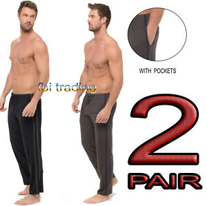 Mens pyjamas 2 pack cotton lounge pants bottoms trousers with pockets