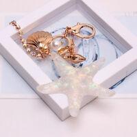 Charm Starfish Key Chain Rhinestone Pearl Shell Pendant Keyfob Keychain Keyring