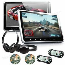 "US Active 2x 10.1"" Screen Car Headrest DVD Player Pillow Monitor + IR Headset A"