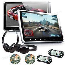 """US Active 2x 10.1"""" Screen Car Headrest DVD Player Pillow Monitor + IR Headset A"""
