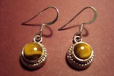 Genuine Indian 925 Silver & Gemstone Cabochon  Earrings~Tigers Eye~S36~uk seller