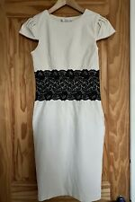 Paper Dolls Size 12 Cream Stretch Wiggle Dress Black Lace Bodycon ASOS Occasion