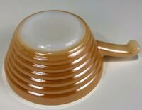 Vintage Anchor Hocking Peach Luster Beehive Fire King Ovenware Handled Soup Bowl