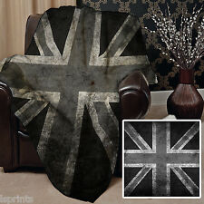 B & W GRUNGE UNION JACK DESIGN SOFT FLEECE BLANKET COVER LARGE CHAIR THROW BED