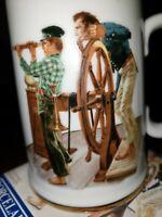 """Norman Rockwell Museum~Porcelain Tankard Mug """"River Pilot""""~Vintage 1985~Antique"""