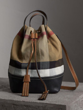 NWT Burberry Brit Brainy Canvas Check MD Heston Bucket Shoulder Tote Bag , Tan