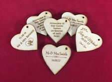 Bomboniere Gift Tags Engraved Hearts Wedding Favours (Qty 25)