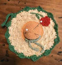 Vtg Hand Crochet-Green Trim-Red Rose-Thread  Bow Bonnet Hat Pin Cushion Sewing