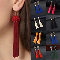 Women Bohemian Earrings Long Tassel Fringe Dangle Lady Rhinestone Ear Stud Hook