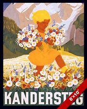 VINTAGE KANDERSTEG SWITZERLAND VACATION TRAVEL AD POSTER ART REAL CANVAS PRINT