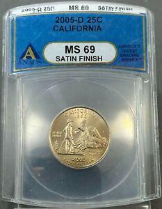 2005-D U.S. 25c CALIFORNIA Quarter ANACS MS69 ~ SATIN FINISH